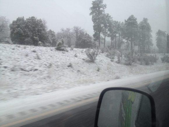 It snowed on the way back. WTF???